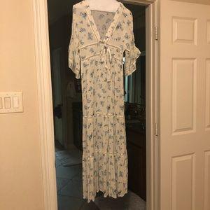 Asos Maxi Dress - Blue White Floral Print - US 4